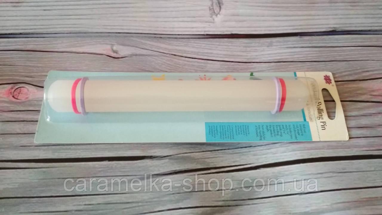 Скалка для мастики с ограничителями маленькая, 22 см