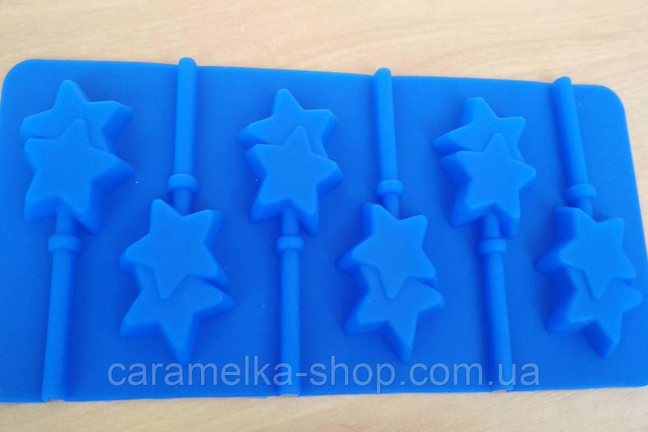 Силиконовая форма для конфет на палочке, леденцов Звёздочки