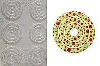Пластиковый молд-трансфер для шоколада круг белый  узор