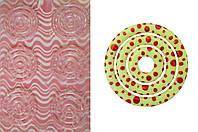Пластиковый молд-трансфер для шоколада круг розовый  узор