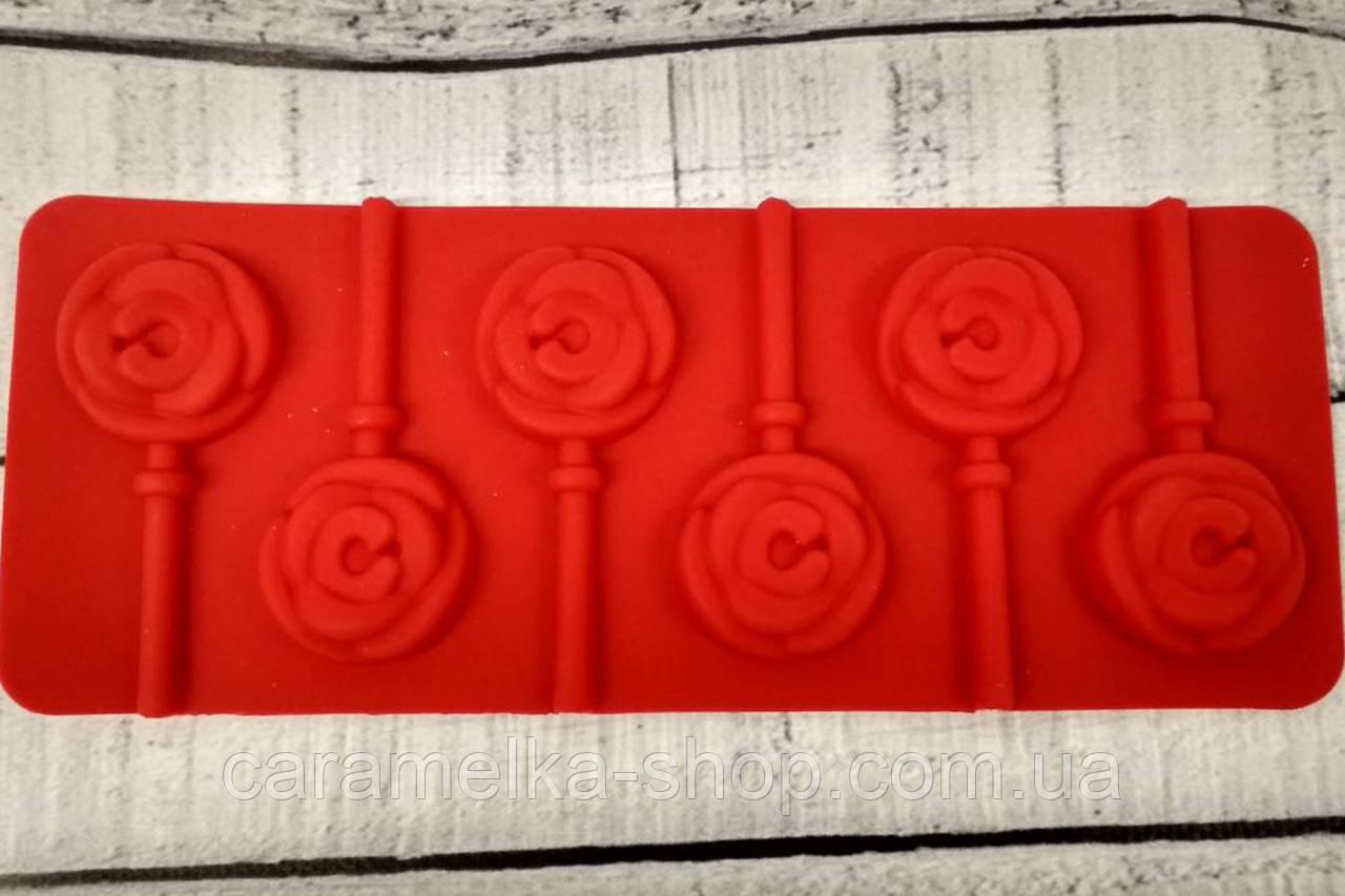 Силиконовая форма для конфет на палочке, леденцов розы