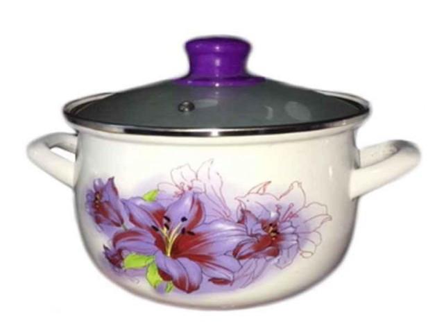Кастрюля эмаль Interos Violet Лилия 6/L (4 л) * 41207