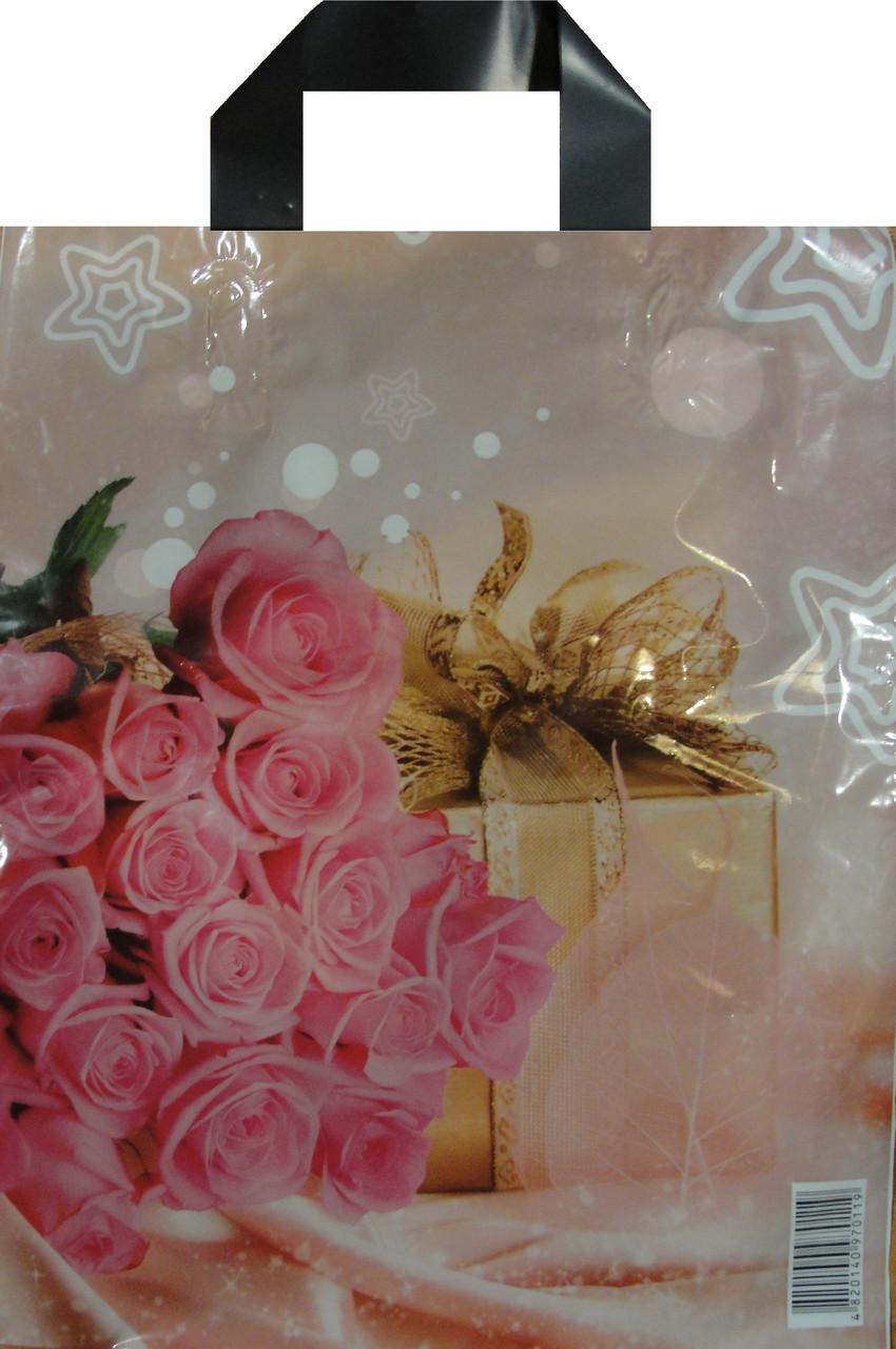 Пакет петля 22*29 Роза подарок