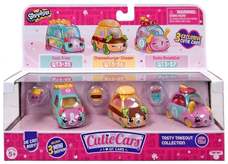 Набор из 3-х мини-машинок Шопкин Стрит-фудShopkins Cutie Car S3 Tasty Takeout оригинал