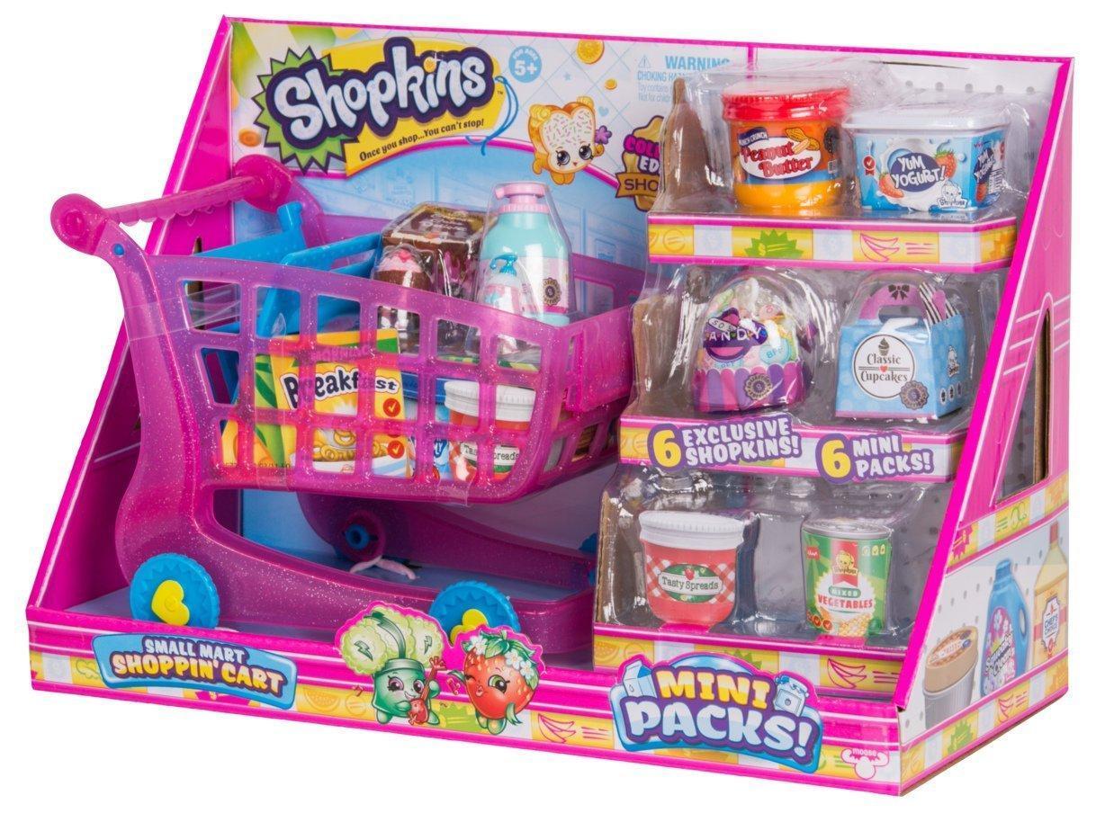 Игровой набор Шопкинс Тележка для супермаркета с продуктами и фигурками Shopkins Small Mart Shopping Cart