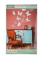 """Фигурные наклейки для декора """"Бабочки"""" Melinera 33х68,5см Мятный, Белый, Серебро"""