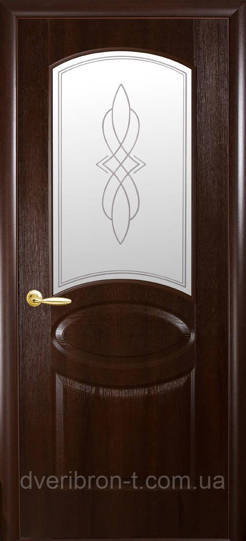 Двери Новый Стиль Овал + Р1 каштан, коллекция ФОРТИС De Luxe P