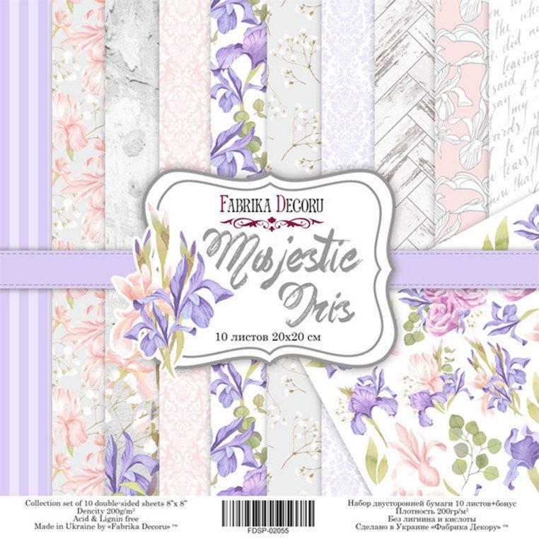 Набор бумаги для скрапбукинга Фабрика Декора 20*20см Majestic Iris 10л + бонус 200г/м2 FDSP-02055