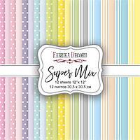 Набор бумаги для скрапбукинга Фабрика Декора 30,5*30,5см Super Mix 12л 175г/м2 FDSP-04011