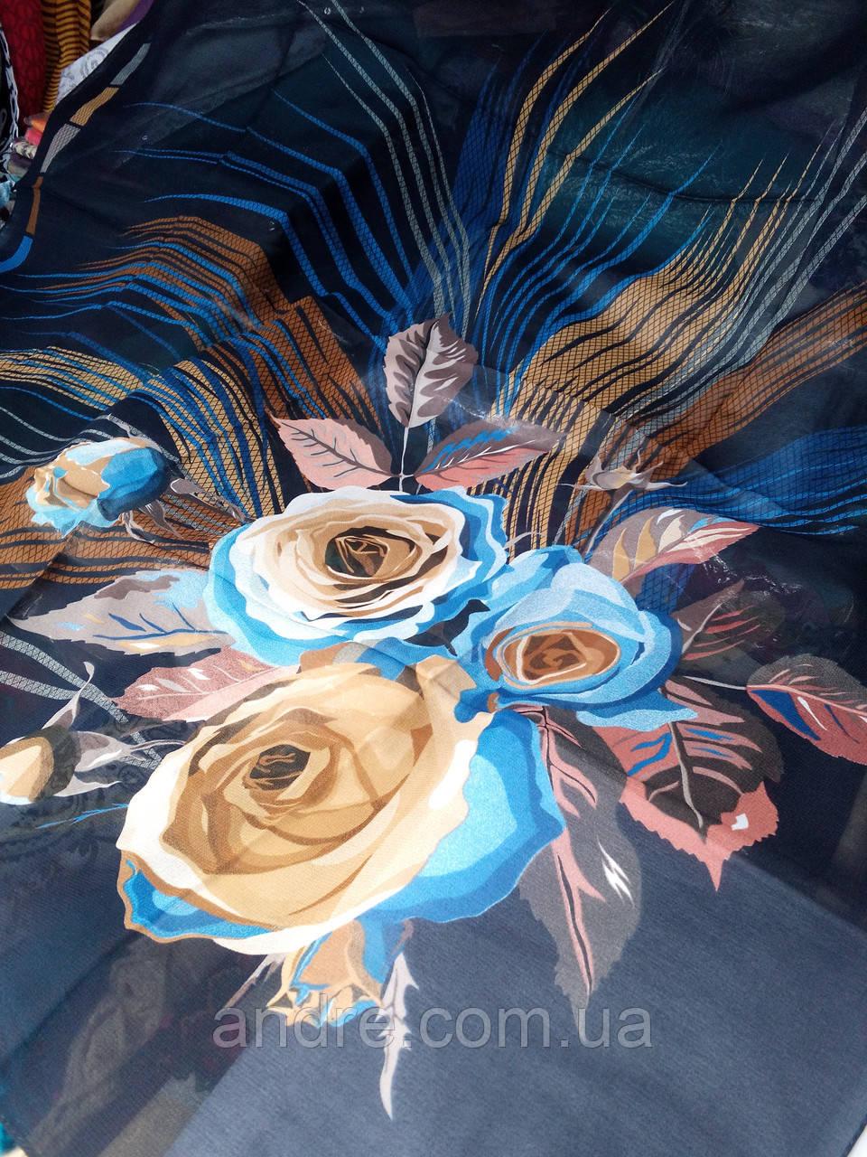 Шелковый платок Гармония  темно- синий