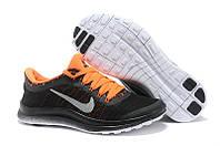 Кроссовки женские Nike Free Run 3.0 черно-оранжевые, фото 1
