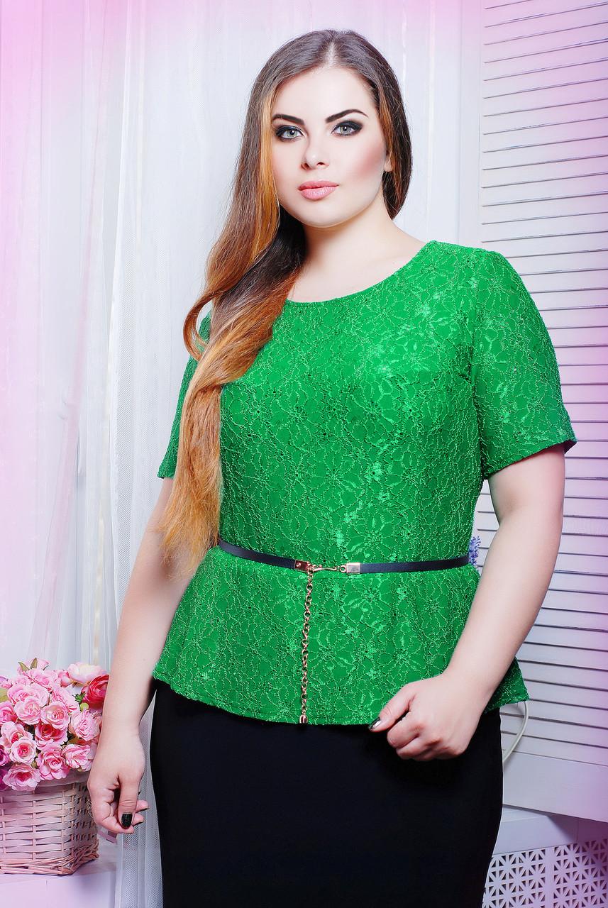 Блуза из гипюра ПАУЛА зеленый