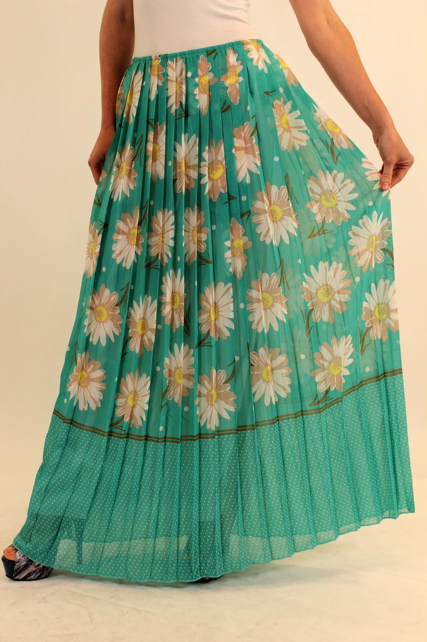 Плиссированная длинная юбка из шифона 42-48 р ( разные цвета )