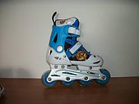 Раздвижные роликовые коньки Profi Roller голубые тигренок  32-35 р. Размер стельки: 18-21 см, фото 1