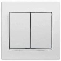 AYA0300221. Выключатель 2-клавишный (СХ 5), Белый с белой вставкой ANYA