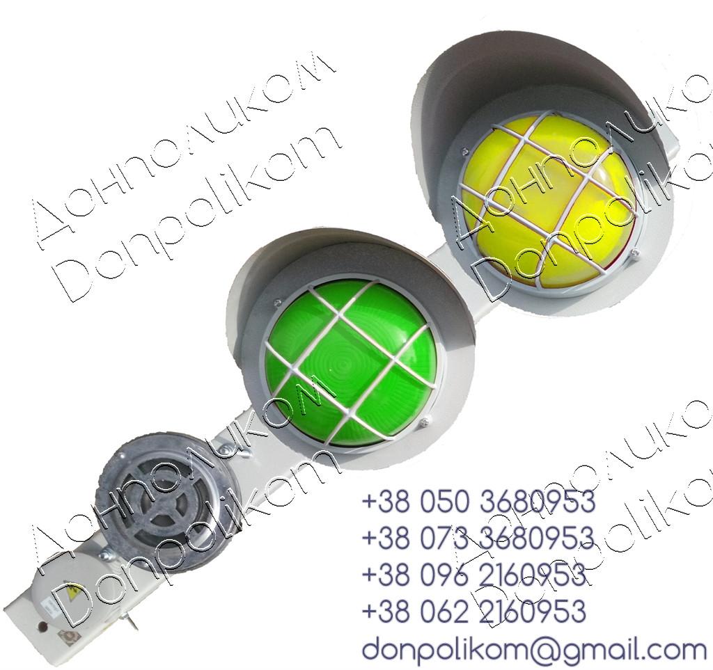 ПС-2 v3 - посты сигнальные с сигнальной сиреной СС-1 горизонтальное, зеленый и желтый