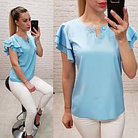 Блузка / блуза  с брошкой и воланами арт. 166 голубой нежный / голубая