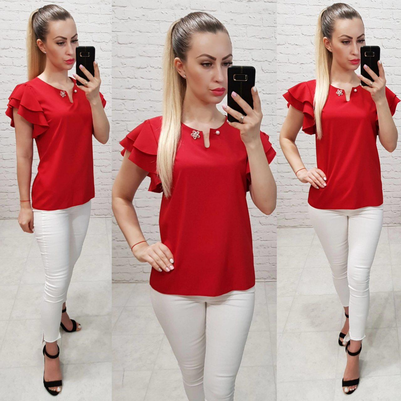 Однотонная блуза приталенного силуэта с воланами,цвет красный, арт 166
