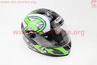Шлем закрытый HF-122 М- ЧЕРНЫЙ глянец с бело-зеленым рисунком Q100G