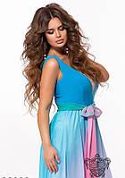Платье женское вечернее Шифоновое Амбре голубое