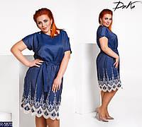 339500706c4ab93 Платье повседневное джинсовое с кружевной вставкой, ровного кроя, рукав  короткий+пояс,большие
