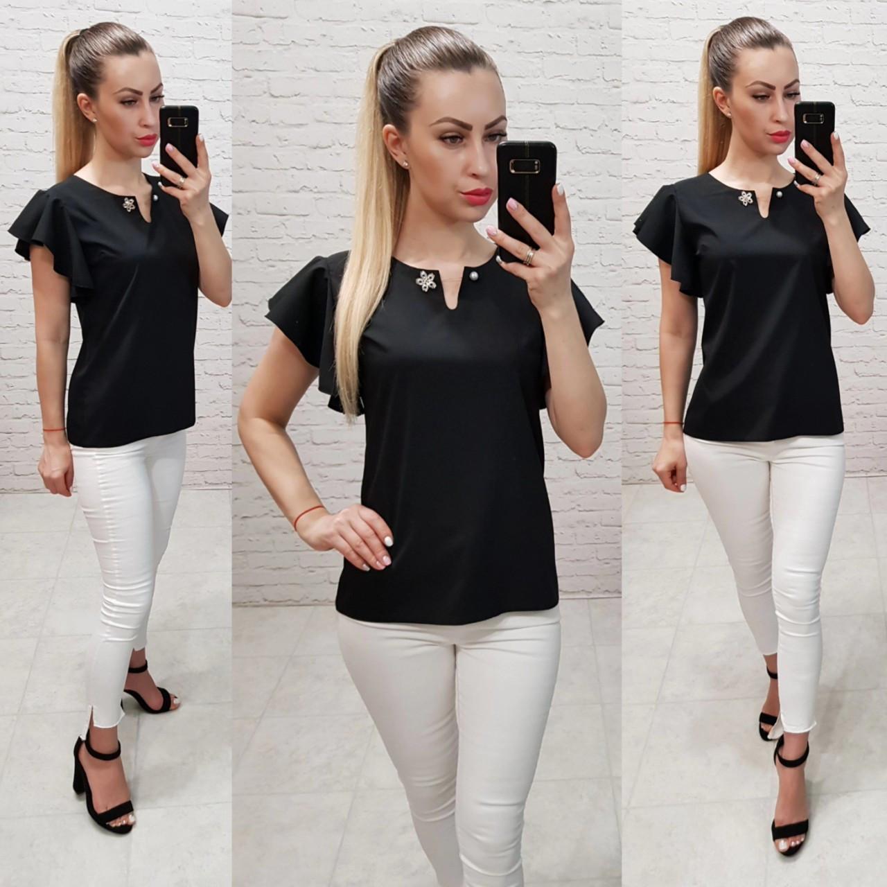 Однотонная блуза приталенного силуэта с воланами,цвет черный, арт.166