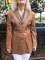 Кожаный женский пиджак классический ., фото 1