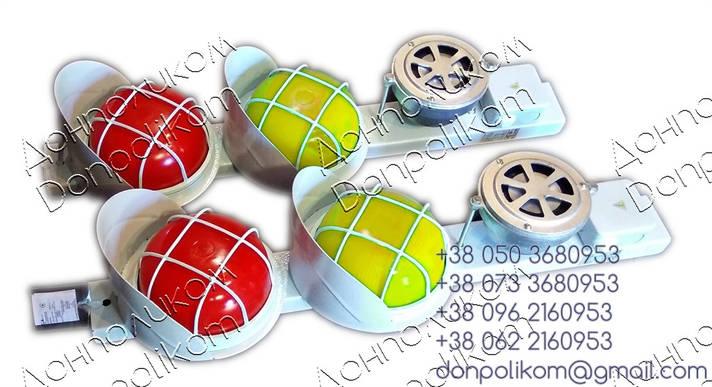 Пост сигнальный ПС-2v3 LED с сиреной СС1 вертикальное, желтый и красный, фото 2
