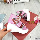 Женские кожаные босоножки с шнуровкой на платформе (сирень), фото 4