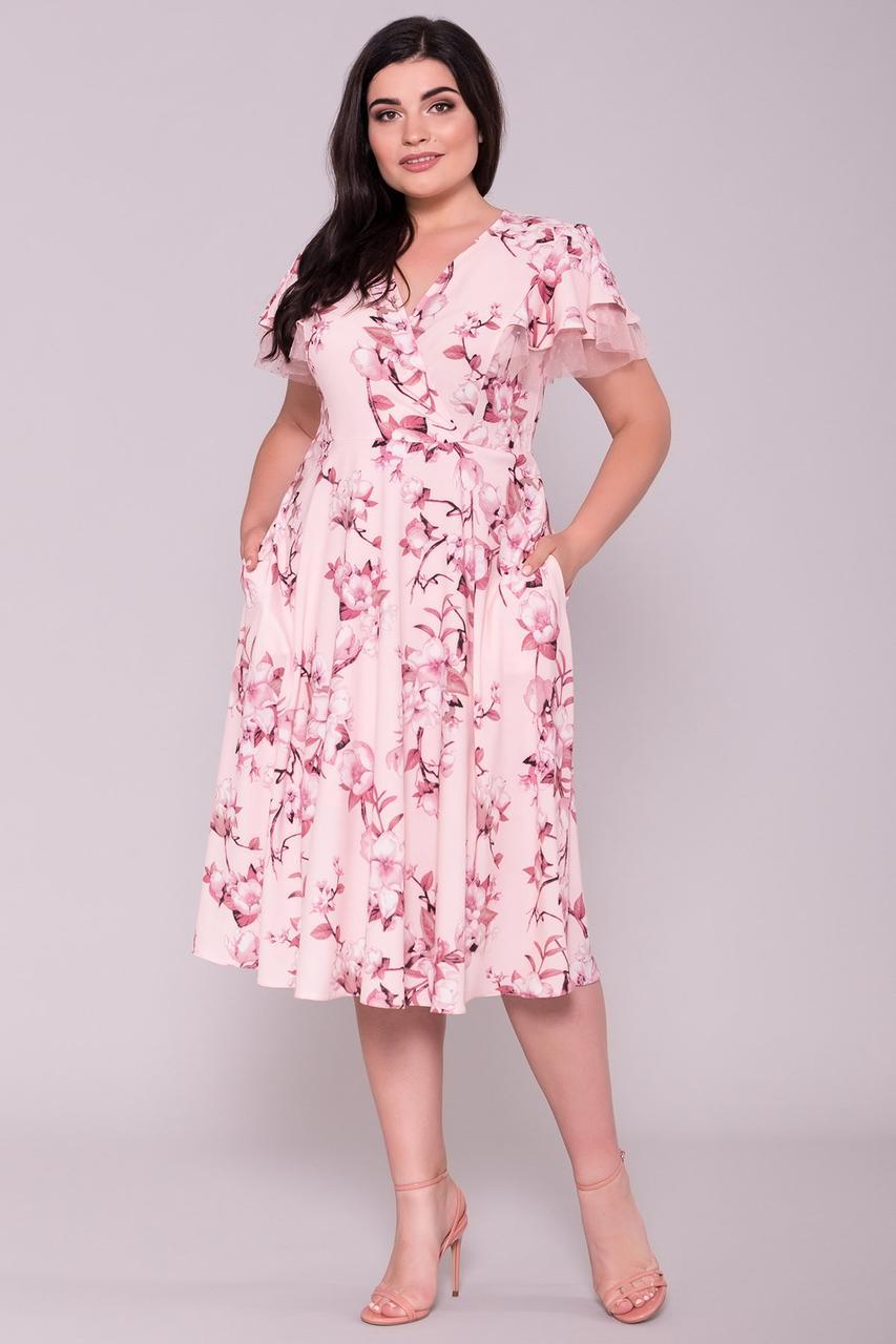 Приталенное батальное платье Амина Фата-2 с юбкой полусолнце на лето