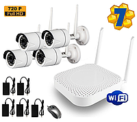 Комплект IP Wi-Fi видеонаблюдения 4 камеры и видеорегистратор HD NVR 720P