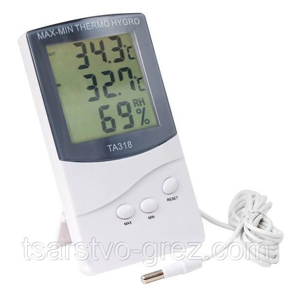 3 в 1: гигрометр, термометр и цифровые часы с выносным датчиком для измерения влажности TA-318