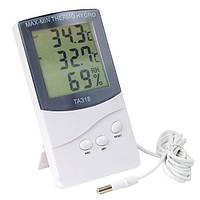 3 в 1: гигрометр, термометр и цифровые часы с выносным датчиком для измерения влажности TA-318, фото 1