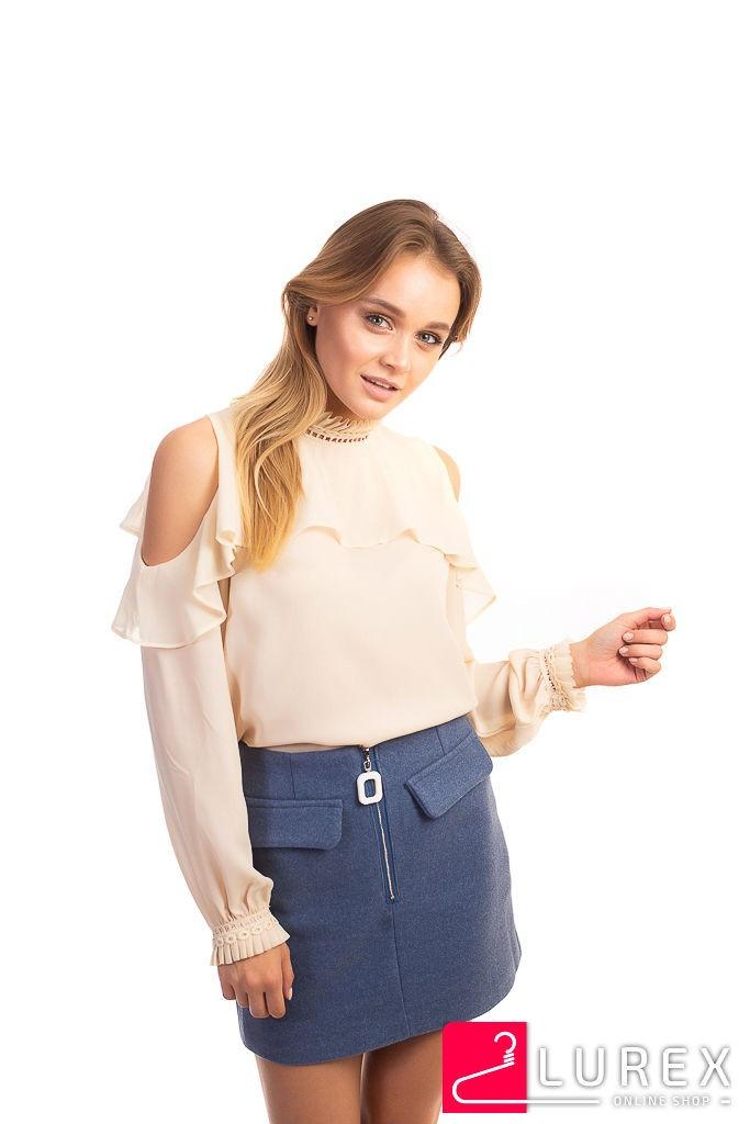 Шифоновая блуза с обнаженными плечами Last Girl - кремовый цвет, L (есть размеры)