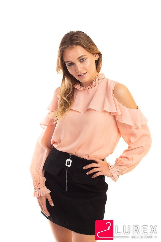 Шифоновая блуза с обнаженными плечами Last Girl - пудра цвет, L (есть размеры)