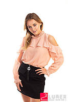 Шифоновая блуза с обнаженными плечами Last Girl - пудра цвет, L (есть размеры), фото 1