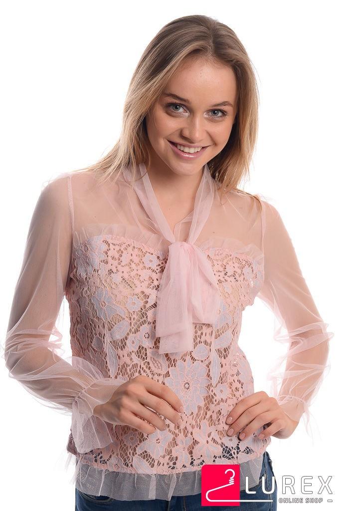 Прозрачная блуза с кружевом GLAM AMOUR - пудра цвет, S/M (есть размеры)