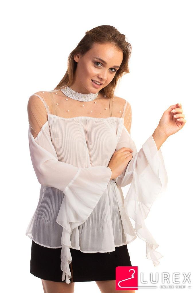 Шифоновая блуза в плиссе Hello Kiss! - белый цвет, L (есть размеры)