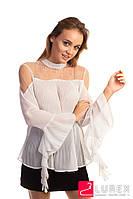Шифоновая блуза в плиссе Hello Kiss! - белый цвет, L (есть размеры), фото 1