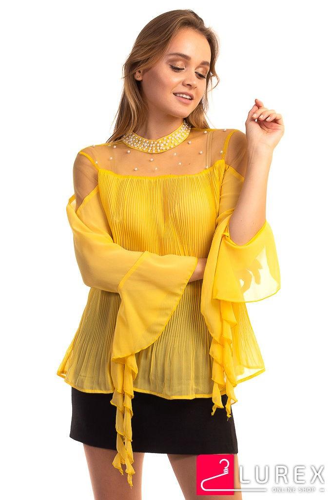 Шифоновая блуза в плиссе Hello Kiss! - желтый цвет, L (есть размеры)