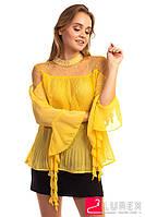 Шифоновая блуза в плиссе Hello Kiss! - желтый цвет, L (есть размеры), фото 1