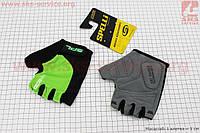 Перчатки без пальцев M-черно-салатовые, с гелевыми вставками под ладонь SBG-1457