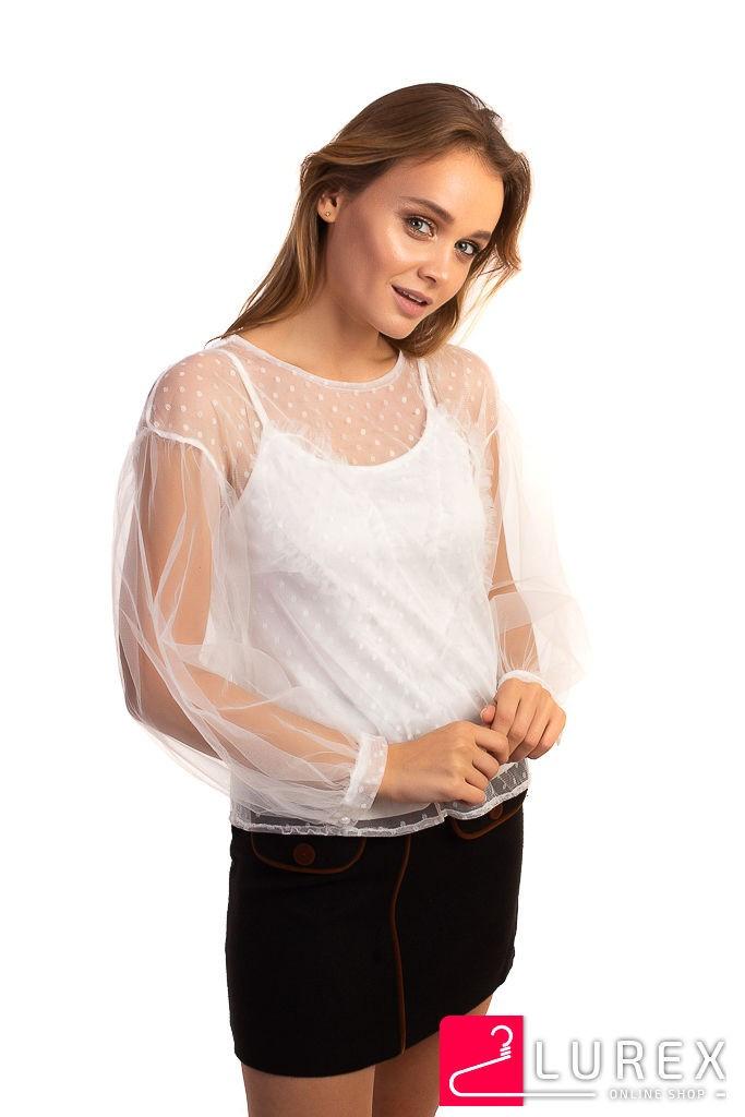 Легкая блуза из прозрачного фатина Paccio - белый цвет, L (есть размеры)
