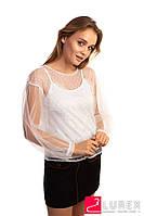 Легкая блуза из прозрачного фатина Paccio - белый цвет, L (есть размеры), фото 1