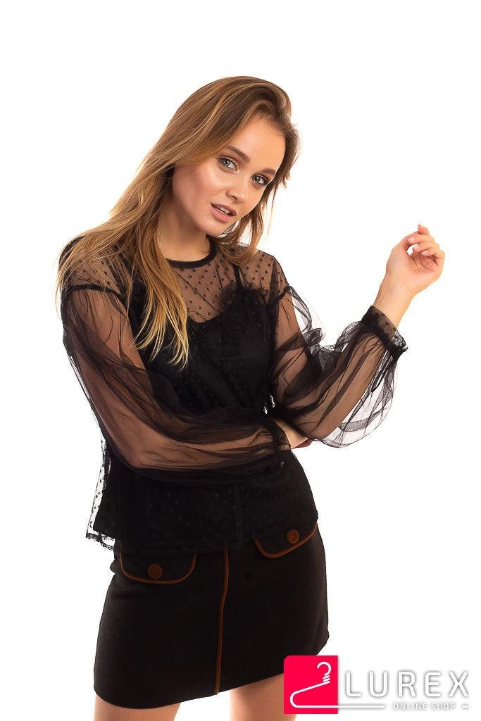 Легкая блуза из прозрачного фатина Paccio - черный цвет, L (есть размеры)