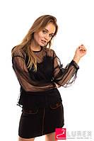 Легкая блуза из прозрачного фатина Paccio - черный цвет, L (есть размеры), фото 1