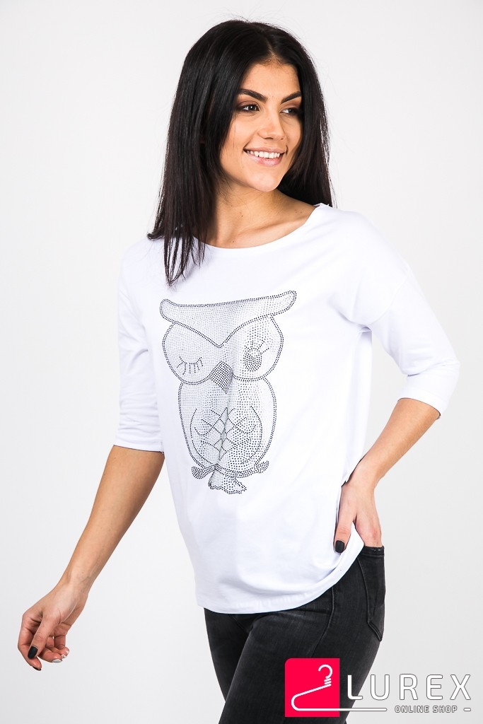 Лонгслив-футболка с принтом совы F.MODA - белый цвет, L/XL (есть размеры)
