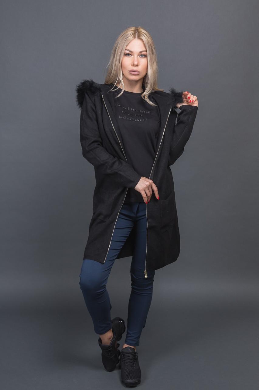 Кардиган на молнии с меховым капюшоном Melody - черный цвет, S/M (есть размеры)