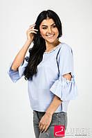 Романтическая блуза с рукавами-рюшами EVIS - голубой цвет, S/M (есть размеры), фото 1