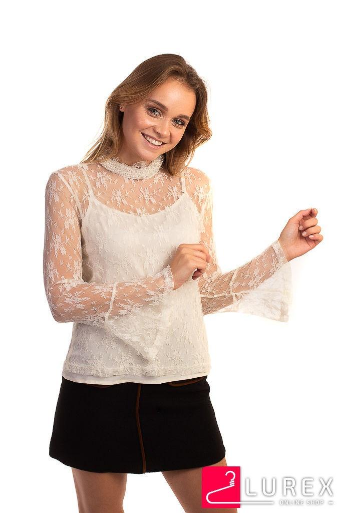 Кружевная блуза в стиле ампир Paccio - кремовый цвет, L (есть размеры)
